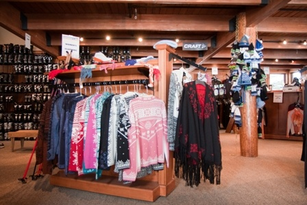 Merchandise hanging on racks in Gold Run Nordic Center Pro Shop