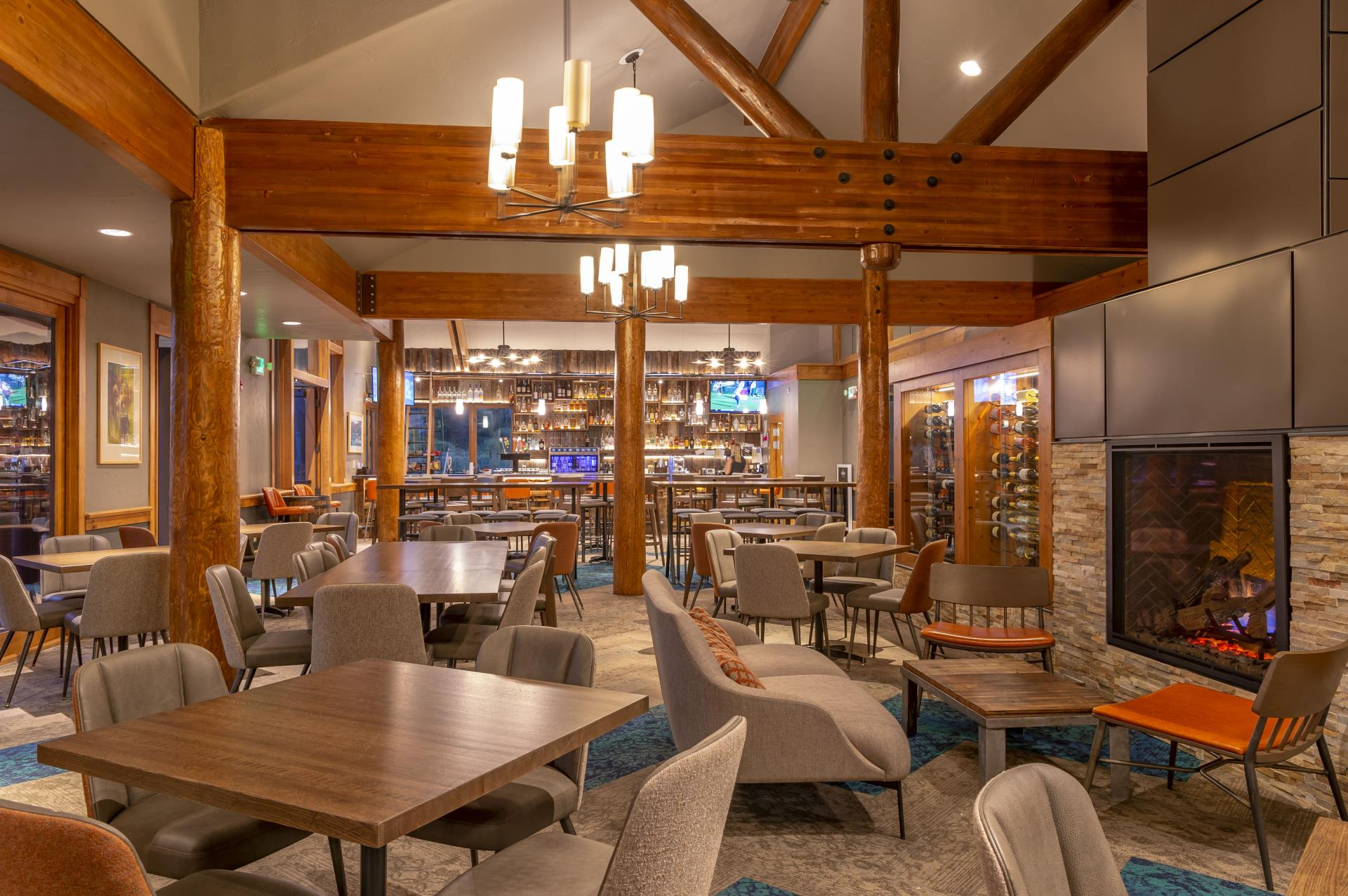 Interior of Gold Run Nordic Center clubhouse with bar area and seating