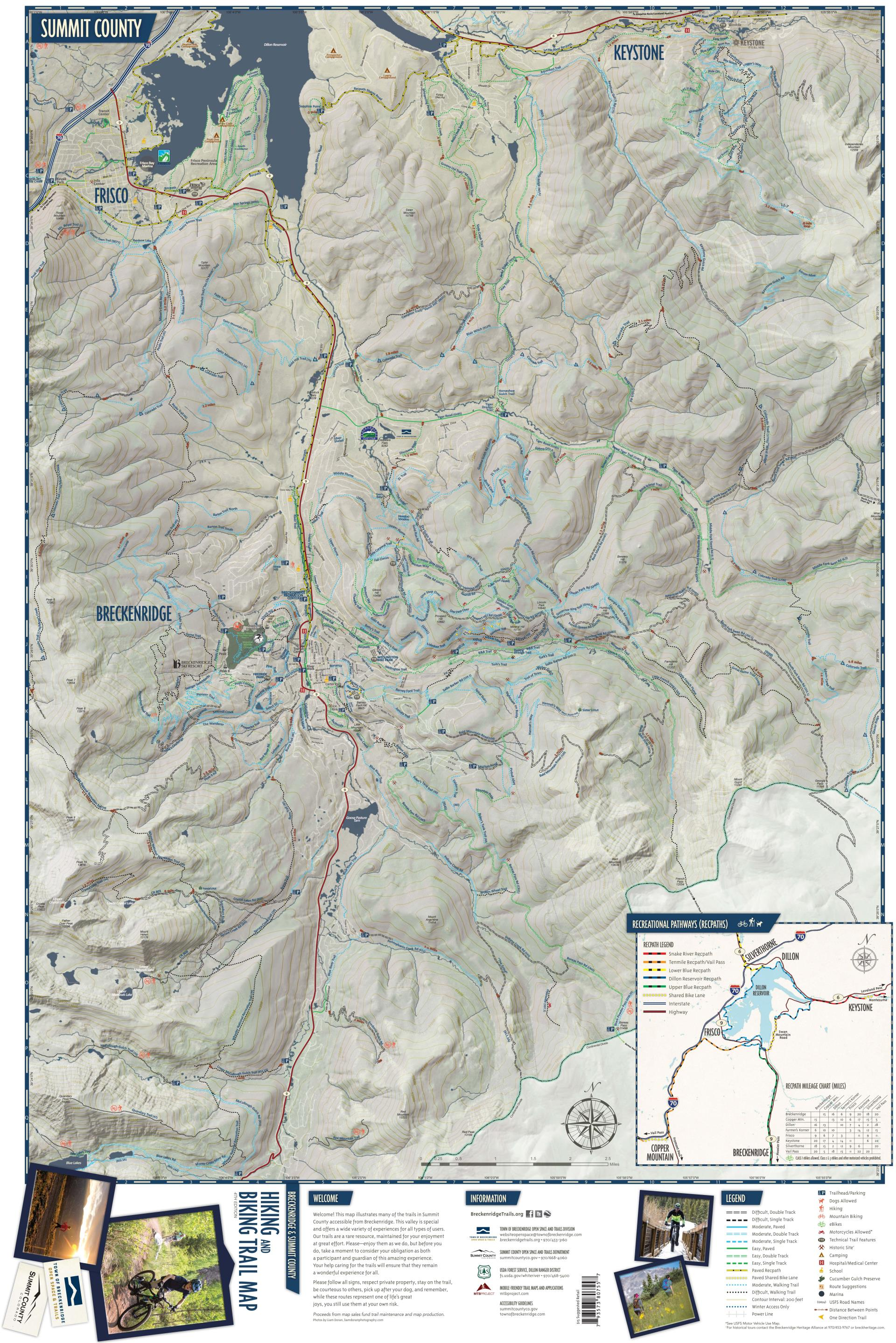 trail map front. trail maps  breckenridge recreation