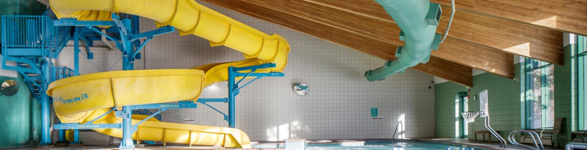 Breckenridge Recreation Center pool with yellow water slide