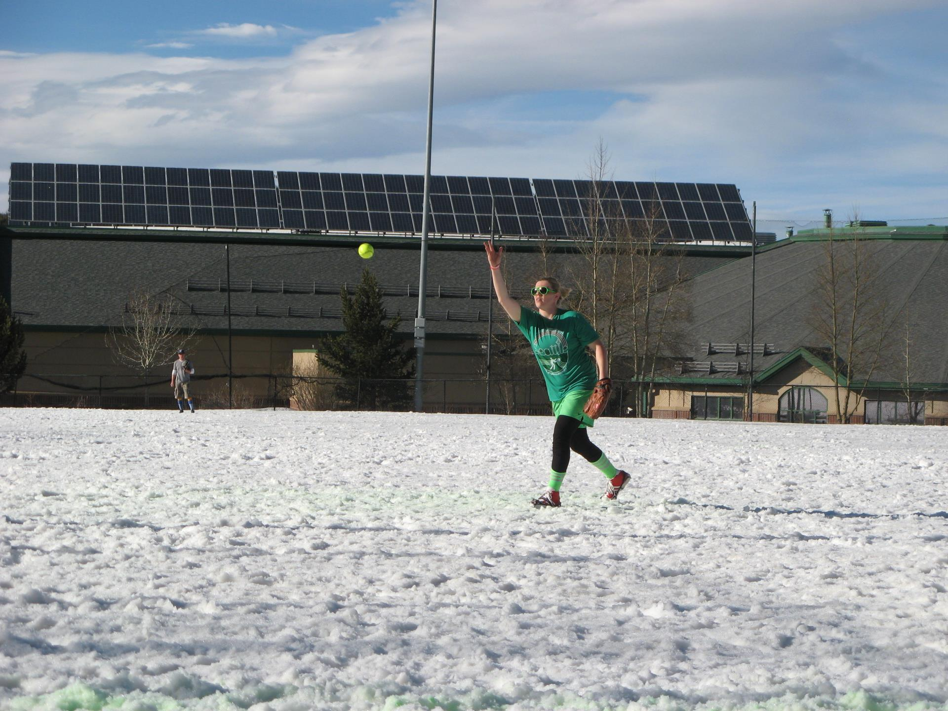 Pitcher pitching softball in Snowpitch Softball Tournament